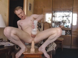 Fuck myself queer ass with thick dildo, railing and cumming