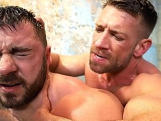 Two hot fag hunks fucking hard in the shower
