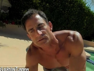 Gay fuck Daddy Poolside Prick Loving
