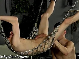 Gay eat shit movie Aaron finds himself trussed into the metal swing